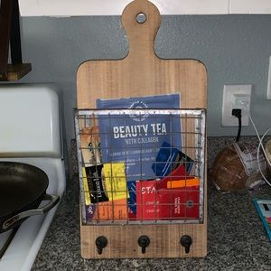 Hanging Cutting Board with Basket and Hooks